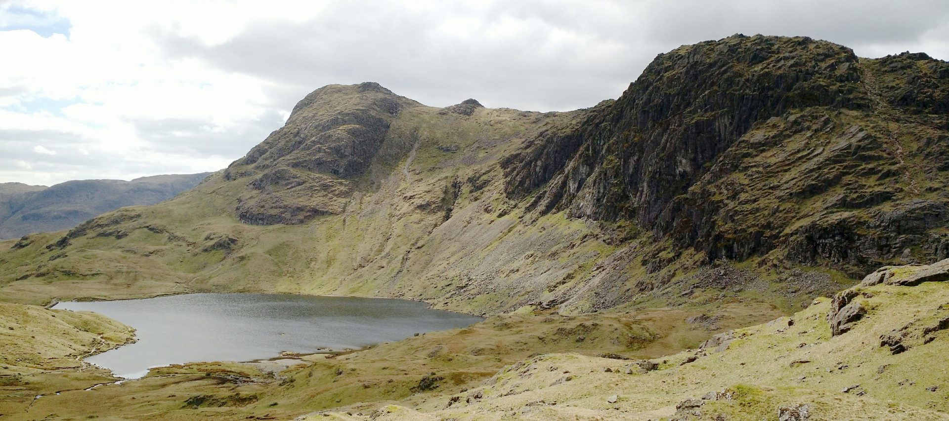 Langdale Pikes Pavey Ark on Right, Harrison Stickle Left