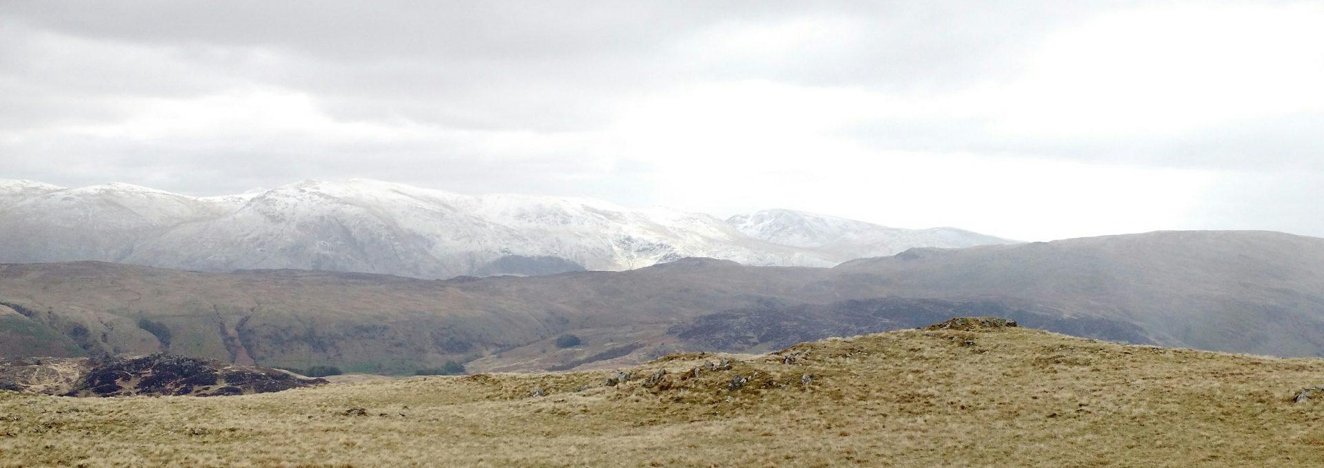 Snowy Helvellyn from Maiden Moor, near Rosthwaite