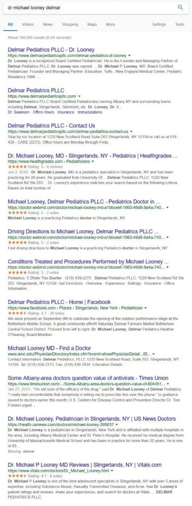 Image of Google Search Results