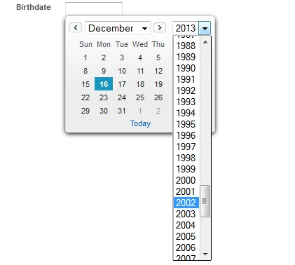 datepicker with past years and no date link