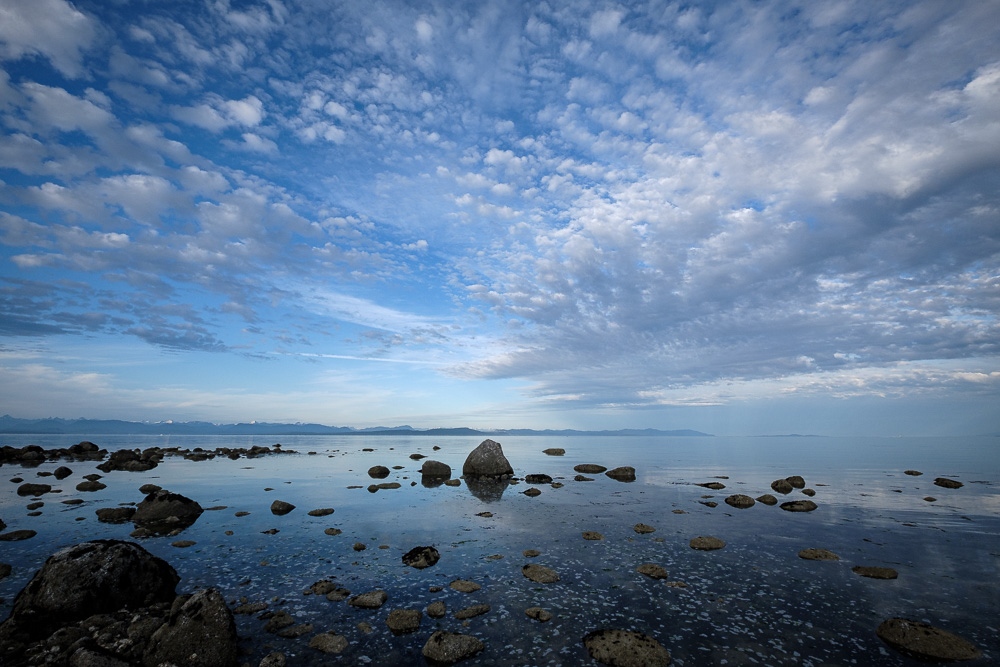 Looking across the Salish Sea from Point Holmes, Comox, BC.
