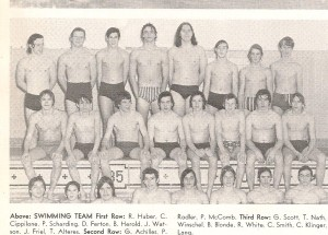 Me, the skinny one, second row, third from left, with Carrick High School swimmers.