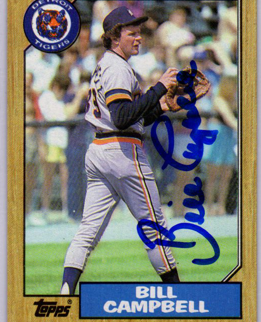 Autographed Bill Campbell 1987 Topps card 674