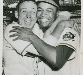 Gromek hugs Doby after Game 4 World Series victory - 1948