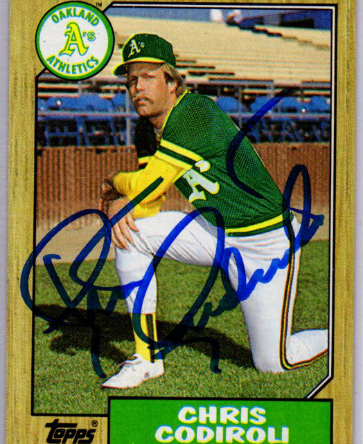 1987 Topps Card 217 signed by Chris Codiroli