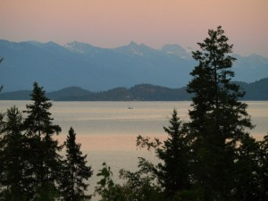 Flathead Lake at dusk
