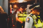 Police arrive at the Kings Arms Tavern to close down the venue after a noise complaint