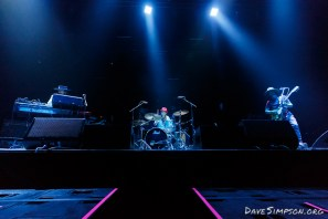 AUCKLAND, NEW ZEALAND - SEPTEMBER 09: James Coyle, Iraia Whakamoe and Ryan Prebble from The Nudge perform on stage supporting Midnight Oil at Spark Arena on September 9, 2017 in Auckland, New Zealand. (Photo by Dave Simpson)