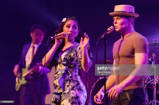 AUCKLAND, NEW ZEALAND - OCTOBER 05: Brielle Von Hugel and Von Smith of the American band Scott Bradlee's Postmodern Jukebox perform on stage at Auckland Town Hall on October 5, 2018 in Auckland, New Zealand. (Photo by Dave Simpson/WireImage)
