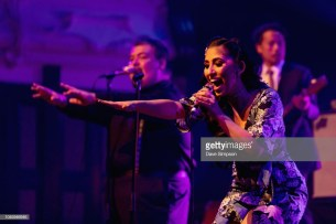 AUCKLAND, NEW ZEALAND - OCTOBER 05: Brielle Von Hugel of the American band Scott Bradlee's Postmodern Jukebox performs on stage at Auckland Town Hall on October 5, 2018 in Auckland, New Zealand. (Photo by Dave Simpson/WireImage)