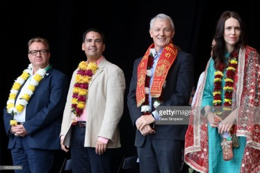 AUCKLAND, NEW ZEALAND - OCTOBER 20: Executive director of the Asia New Zealand Foundation Simon Draper, National Party leader Simon Bridges, Auckland Mayor Phil Goff and Jacinda Ardern welcomes the crowd during the 17th Auckland Diwali Festival on October 20, 2018 in Auckland, New Zealand. Auckland Diwali Festival is one of Auckland's biggest and most colourful cultural festival, celebrating traditional and contemporary Indian culture. (Photo by Dave Simpson/WireImage)