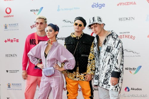 AUCKLAND, NEW ZEALAND - NOVEMBER 15: Openside arrive for the 2018 Vodafone New Zealand Music Awards at Spark Arena on November 15, 2018 in Auckland, New Zealand. (Photo by Dave Simpson/WireImage)