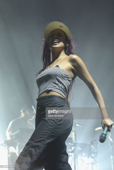 AUCKLAND, NEW ZEALAND - JANUARY 09: Cosha performs on stage with Mura Masa during FOMO By Night Festival at Spark Arena on January 9, 2019 in Auckland, New Zealand. (Photo by Dave Simpson/Getty Images)