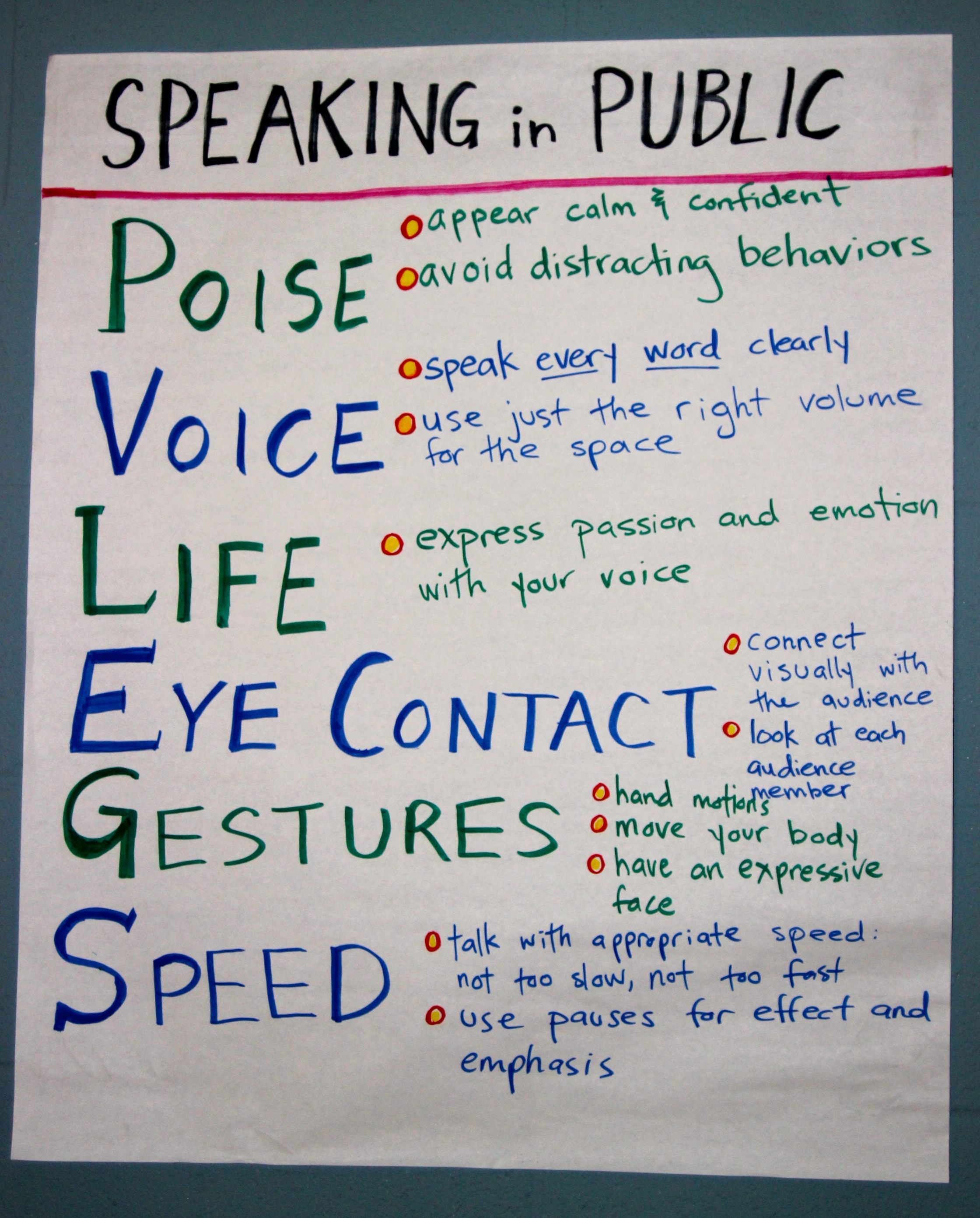 Pvlegs A Public Speaking Acronym That Transforms Students