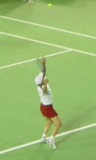 Martina Navratilova demonstrating serves.