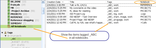 Search all notebooks for items with the _ABC tag