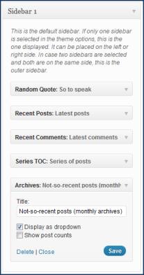 WordPress widgets in action