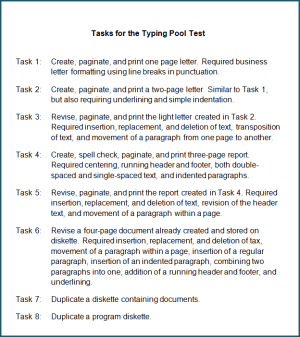 Tasks for the Typing Pool test