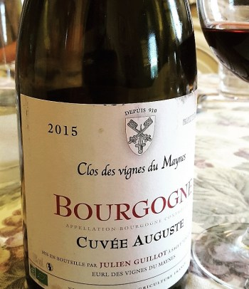 "Julien Guillot's delicious Bourgogne ""Cuvee Auguste' made with whole cluster fermentation."