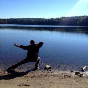 #Skandasana at Walden Pond, former home of Henry David Thoreau in Concord, MA.