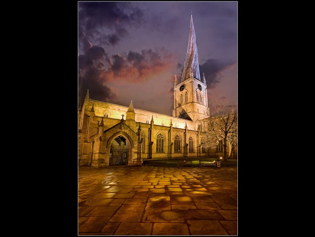 Crooked Spire at night