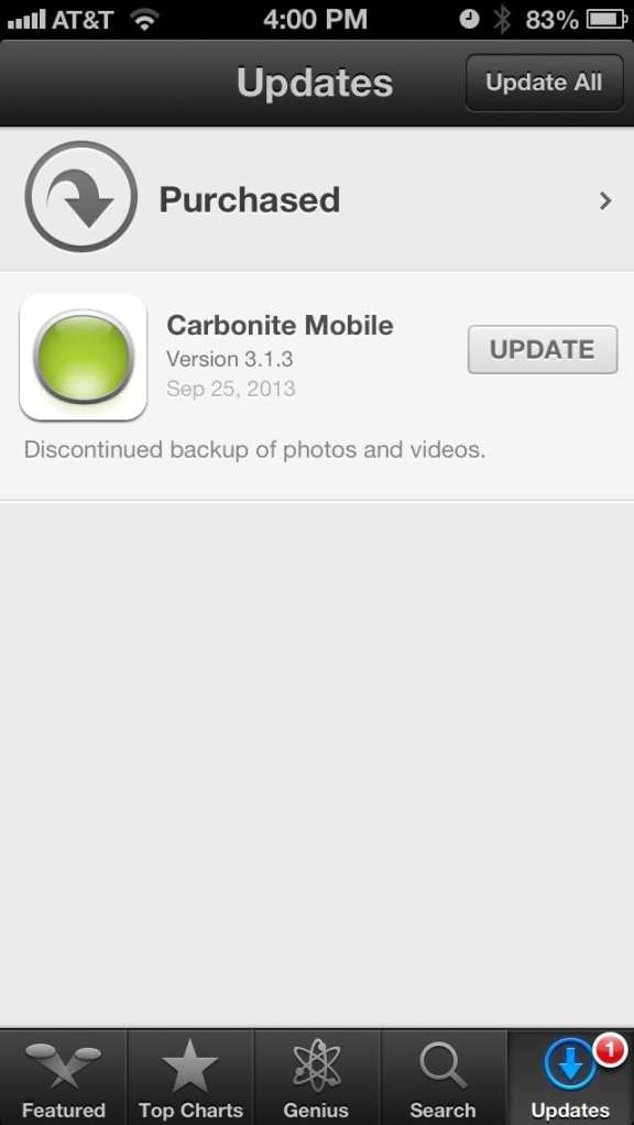 Carbonite: Discontinue photo and video fix