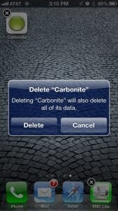 Press the X and the Carbonite app will be deleted