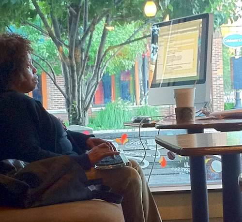Yes, she dragged an iMac into Starbucks