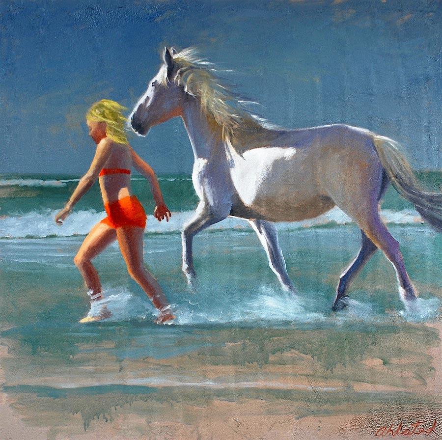 "David Ahlsted - ""Chloe & Cloud Dancer II"", Oil on Canvas, 36 x 36""."