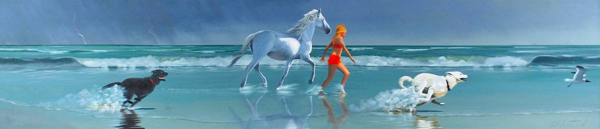 "David Ahlsted - ""Chloe & Cloud Dancer"", Oil on Canvas, 20 x 90"""