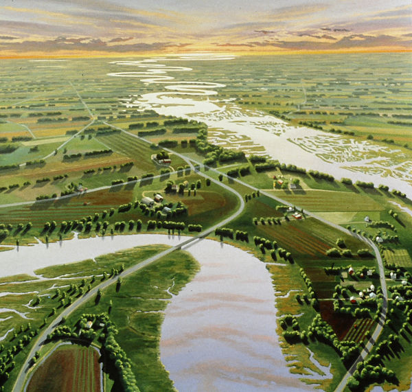 """David Ahlsted - Center Panel """"Cohansey River & Farmlands"""" Oil on Canvas, 60 x 60"""""""