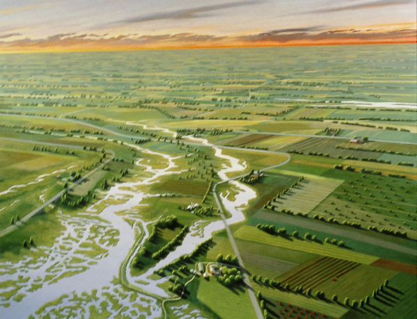 """David Ahlsted - Right Panel, """"Cohansey River & Farmlands"""", Oil on Canvas, 60 x 72"""""""