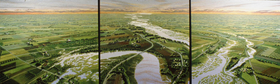"""David Ahlsted - """"Cohansey River & Farmlands"""" Oil on Canvas, 60 x 204"""""""