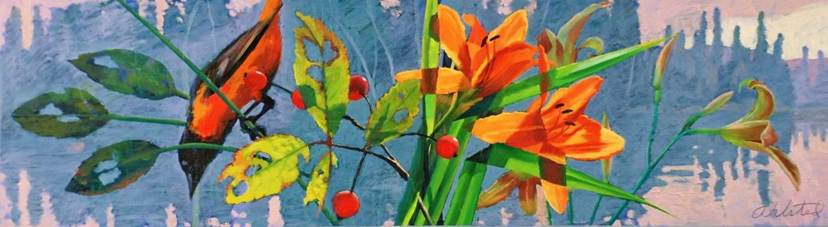 """David Ahlsted - """"North Country Summer"""", Oil on Board, 10 x 36"""""""