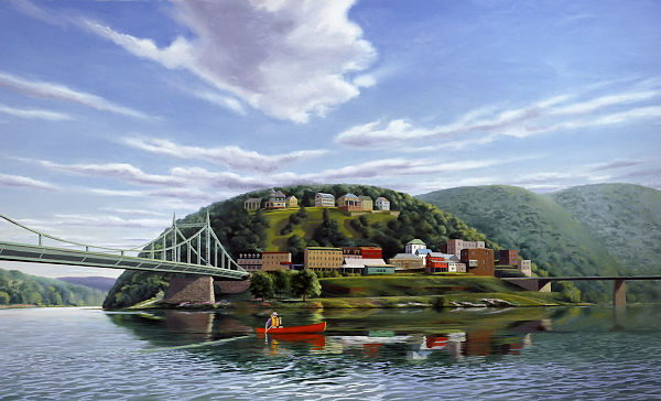 """David Ahlsted - """"Delaware River at Phillipsburg, N.J."""", Oil on Canvas, 4 x 7 feet"""