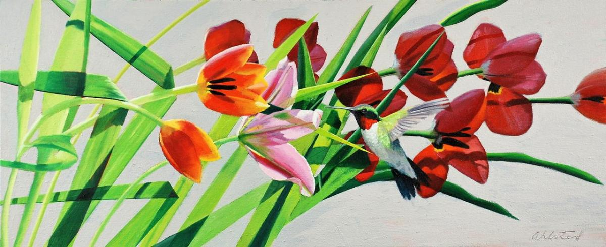 """David Ahlsted - """"Primavera"""", Oil on canvas, 20 x 48"""""""