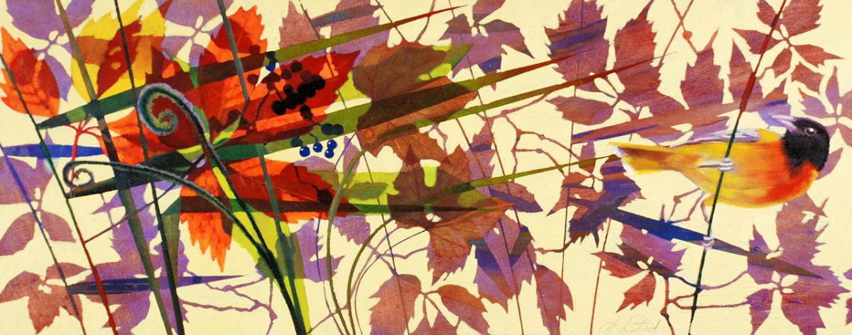 "David Ahlsted - ""September Sunrise"", Oil on Panel, 20 x 50"""