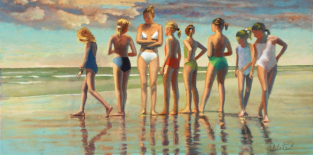 """David Ahlsted - """"Seven Sisters"""", Oil on Gessoed Paper, 20 x 39"""" - SOLD"""
