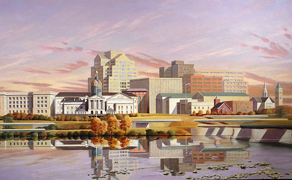 """David Ahlsted - """"Delaware River at Trenton, N.J."""" Oil on Canvas, 4 x 7 feet"""