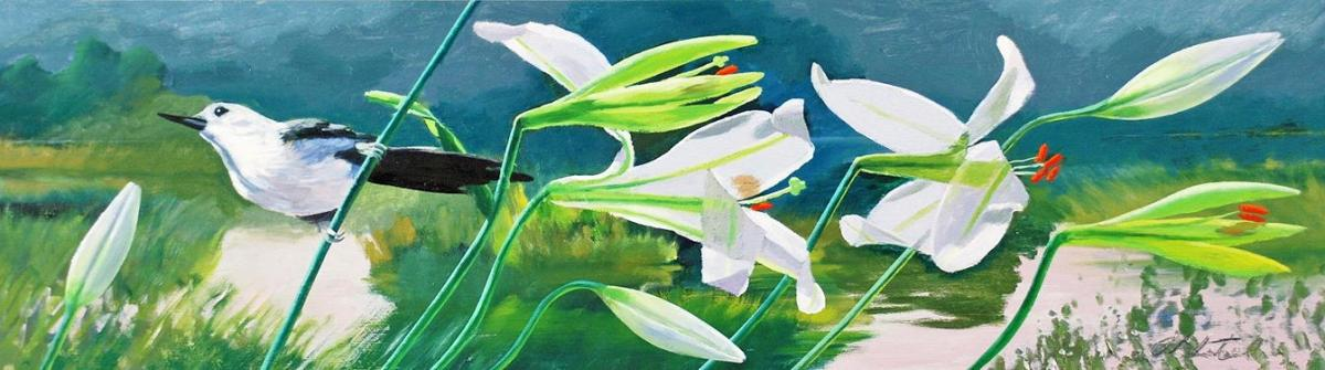 """David Ahlsted - """"Verde Blanco"""", Oil on Board, 10 x 36"""""""