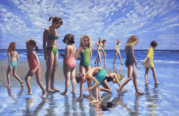 "David Ahlsted - ""Class Trip to the Sea"" Oil on Paper, 22 x 33.5"""