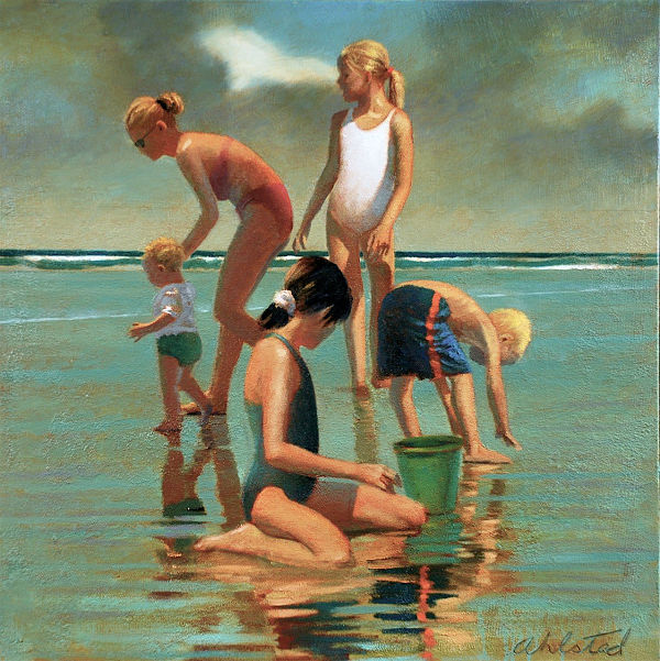 "David Ahlsted - ""A Day at the Beach"", Oil on Canvas, 28 x 28""."
