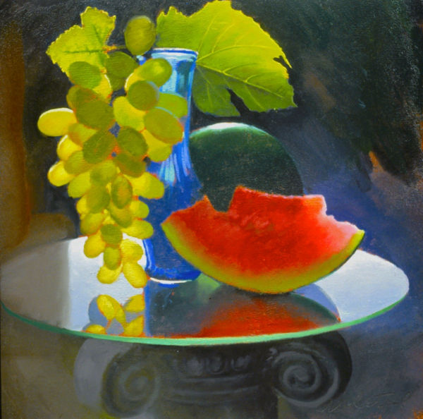 """David Ahlsted - """"Grapes"""", Oil on paper, 23 x 23"""" - SOLD"""