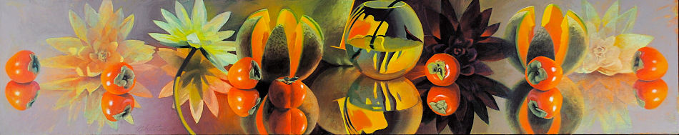 """David Ahlsted - """"Lily and Melon Frieze"""", Oil on Canvas, 18 x 90"""" - SOLD"""