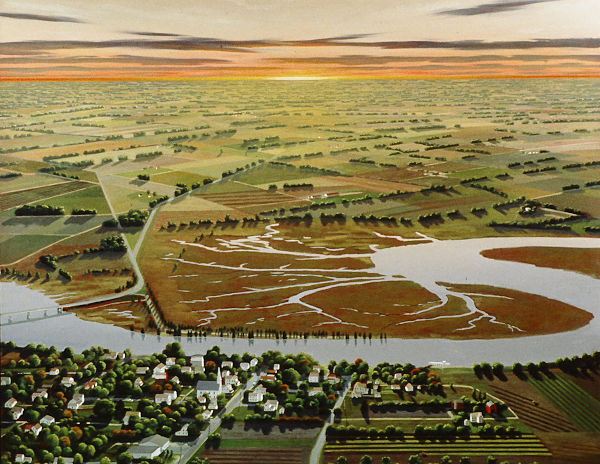 """David Ahlsted - Detail, """"Maurice River & Farmlands"""" Oil on Canvas, 60 x 72"""""""