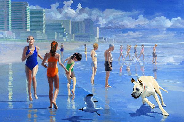 "David Ahlsted - ""Atlantic City Beach Scene"" Oil on Canvas, 48 x 71"""