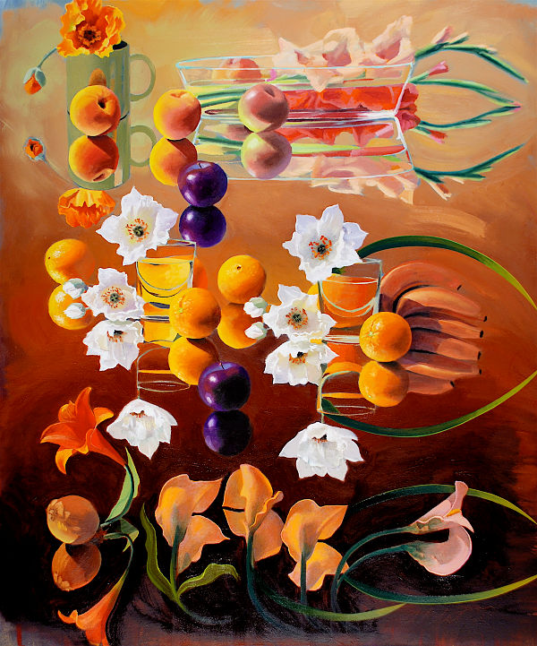 """David Ahlsted - """"Orange Blossom Special"""", Oil on Canvas, 60 x 64"""" - SOLD"""