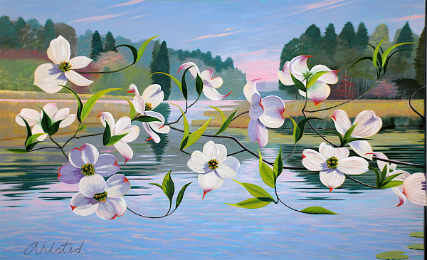 """David Ahlsted - Left Panel, """"Spring"""", Oil on Canvas, 6' 6"""" x10' 6"""""""