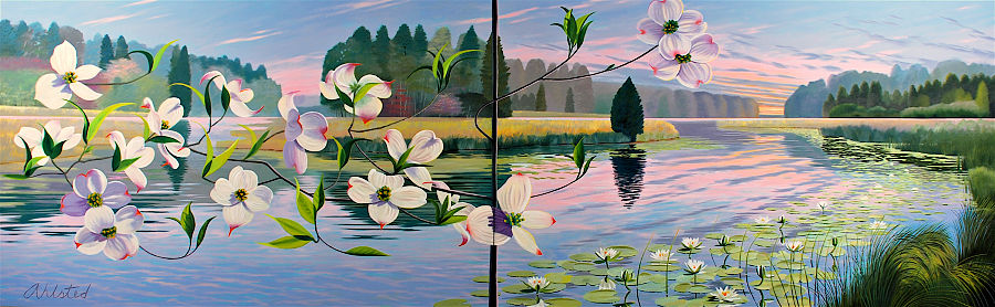 """David Ahlsted - """"Spring"""", Oil on Canvas, 6' 6"""" x 21' Installation"""