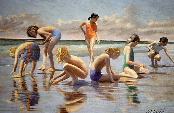 """David Ahlsted - """"Washed Ashore"""" Oil on Gessoed paper, 21 x 34"""" - SOLD"""